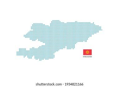 Kyrgyzstan map design blue circle, white background with Kyrgyzstan flag.