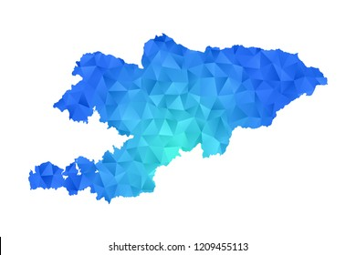 Kyrgyzstan map in geometric blue polygonal style modern design on white background. Vector illustration.