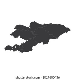 Kyrgyzstan map on white background vector, Kyrgyzstan Map Outline Shape Black on White Vector Illustration, High detailed black illustration map -Kyrgyzstan.