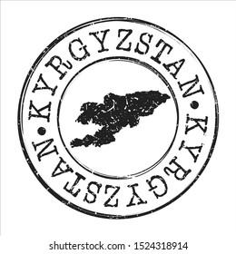 Kyrgyzstan Map Postmark. Silhouette Postal Passport. Stamp Round Vector Icon. Vintage Postage Design.