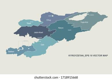 kyrgyzstan map. vector map of kyrgyzstan in central asia.
