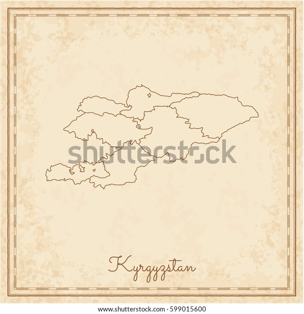 Kyrgyzstan region map: stilyzed old pirate parchment imitation. Detailed map of Kyrgyzstan regions. Vector illustration.