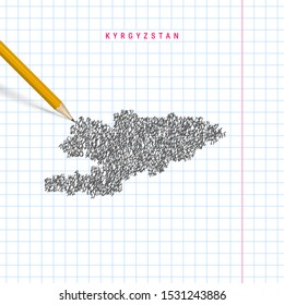Kyrgyzstan sketch scribble vector map drawn on checkered school notebook paper background