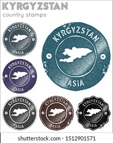 Kyrgyzstan stamps collection. Rubber stamps with country map silhouette. Vector set of Kyrgyzstan logo.