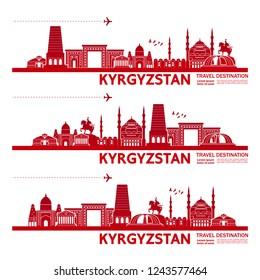 Kyrgyzstan Travel Destination Vector.