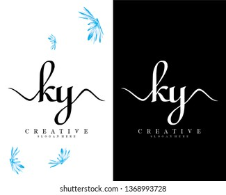 ky/yk initial handwriting logo template design vector