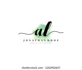 A L AL Initial watercolor logo on white background. Logo template vector
