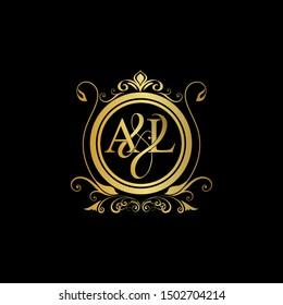 A & L AL logo initial Luxury ornament emblem. Initial luxury art vector mark logo, gold color on black background.