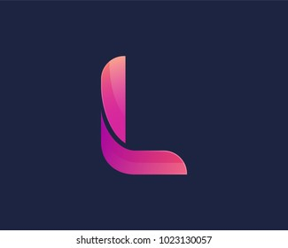 L Alphabet letter logo. Abstract Colorful logotype vector design template.