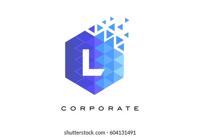 L Blue Hexagonal Letter Logo Design with Mosaic Blue Pattern.