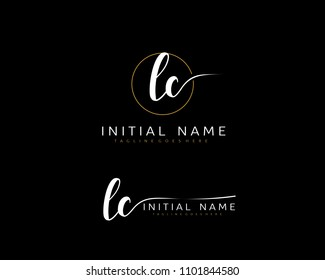L C Initial handwriting logo vector. Hand lettering for designs.