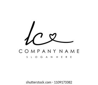 L C Initial handwriting logo vector