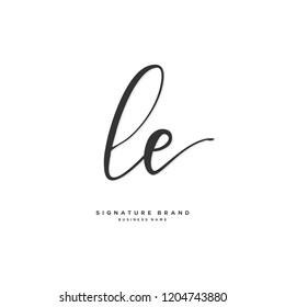 L E LE Initial letter handwriting and  signature logo concept design