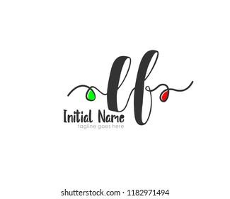 L F Initial handwriting logo vector template