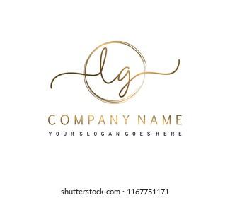 L G Initial handwriting logo vector