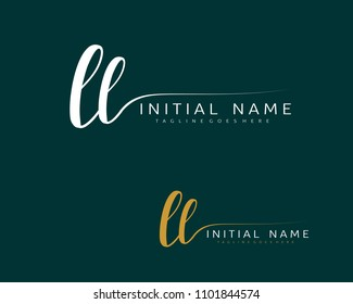 L L Initial handwriting logo vector. Hand lettering for designs.