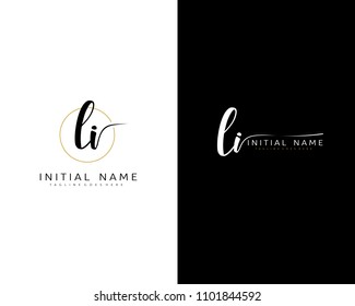 L I Initial handwriting logo vector. Hand lettering for designs.