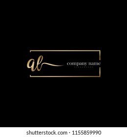 A L Initial handwriting logo vector. Hand lettering for designs.