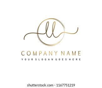 L L Initial handwriting logo vector