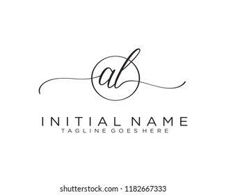 A L Initial handwriting logo vector. Hand lettering for designs