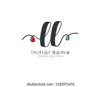L L Initial handwriting logo vector template