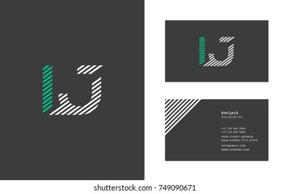 L J joint logo line letter design with business card template