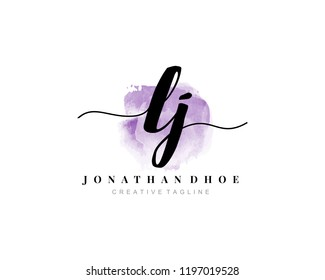 L J LJ Initial watercolor logo on white background. Logo template vector