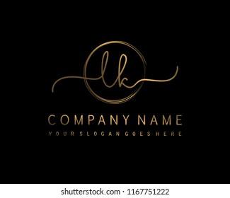 L K Initial handwriting logo vector
