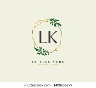 L K LK Beauty vector initial logo, handwriting logo of initial wedding, fashion, jewerly, heraldic, boutique, floral and botanical with creative template for any company or business.