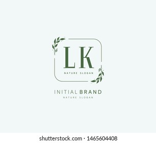 L K LK Beauty vector initial logo, handwriting logo of initial signature, wedding, fashion, jewerly, boutique, floral and botanical with creative template for any company or business.