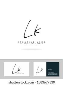 L K LK initial handwriting logo template vector.  signature logo concept