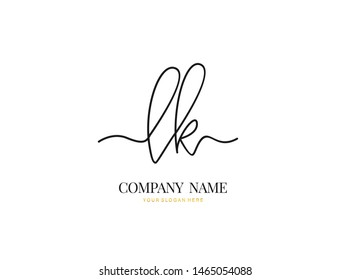L K LK Initial handwriting logo design with circle. Beautyful design handwritten logo for fashion, team, wedding, luxury logo.