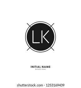 L K LK Initial logo letter with minimalist concept. Vector with scandinavian style logo.