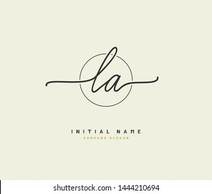 L A LA Beauty vector initial logo, handwriting logo of initial signature