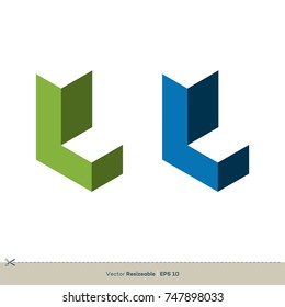 L Letter Brick Vector Logo Template