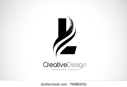 L Letter Design Brush Paint Stroke. Letter Logo with Black Paintbrush Stroke.