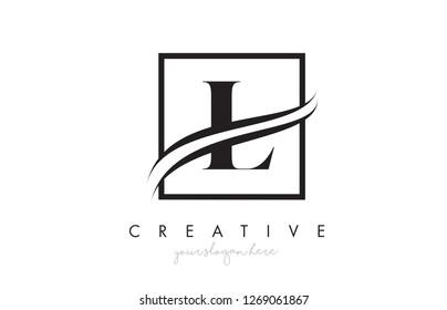 L Letter Icon Logo Design with Square Swoosh Border and Creative Design Vector Illustration.
