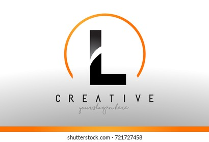 L  Letter Logo Design with Black Orange Color. Cool Modern Icon Letters Logo Vector.