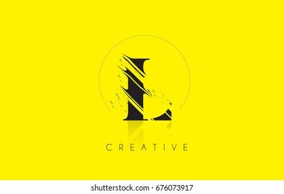 L Letter Logo with Vintage Grundge Cut Design. Destroyed Drawing Elegant Letter Icon Vector.