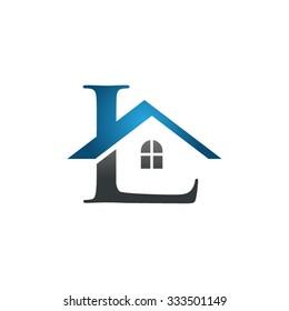 L letter roof shape logo blue
