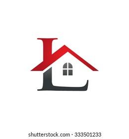 L letter roof shape logo red