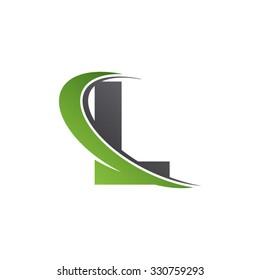 L letter swoosh green logo