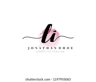 L I LI Initial watercolor logo on white background. Logo template vector