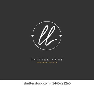 L LL Beauty vector initial logo, handwriting logo of initial signature, wedding, fashion, jewerly, boutique, floral and botanical with creative template for any company or business.