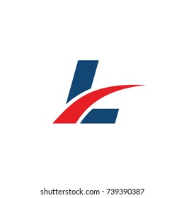 L logo, L initial overlapping swoosh letter logo blue and red