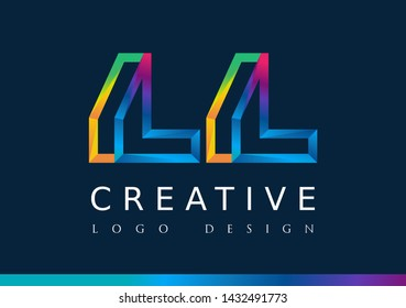 L L Logo. LL Letter Design Vector with Magenta blue and green yellow color