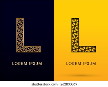 L ,Luxury font, designed using gold and black triangle geometric shape. on dark and yellow  background, sign ,logo, symbol, icon, graphic, vector.
