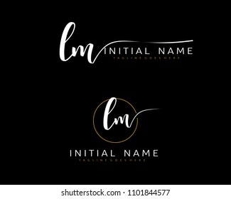L M Initial handwriting logo vector. Hand lettering for designs.