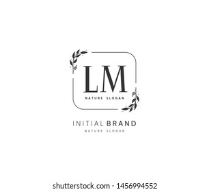 L M LM Beauty vector initial logo, handwriting logo of initial signature, wedding, fashion, jewerly, boutique, floral and botanical with creative template for any company or business.