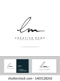 L M LM initial handwriting logo template vector.  signature logo concept